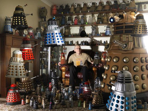 Rob Hull with his dalek collection