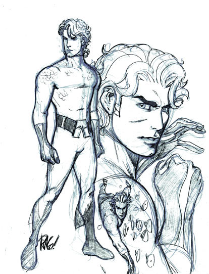 Aquaman Sketch by Mike Wieringo